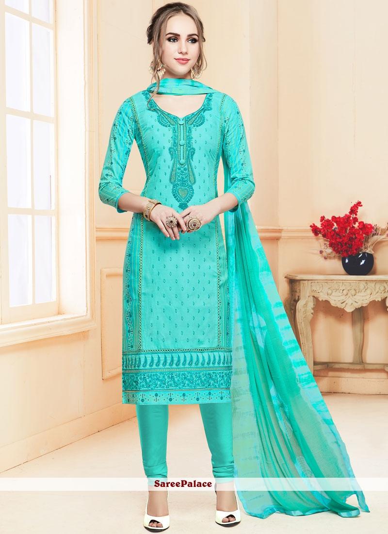 58c34182cb Buy Turquoise Resham Churidar Salwar Kameez Online