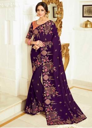 Resham Classic Purple Designer Saree