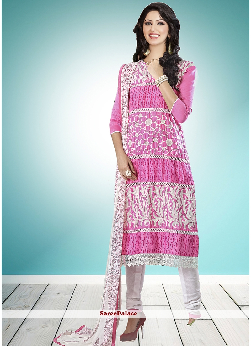 Resham Cotton   Designer Straight Suit in Pink