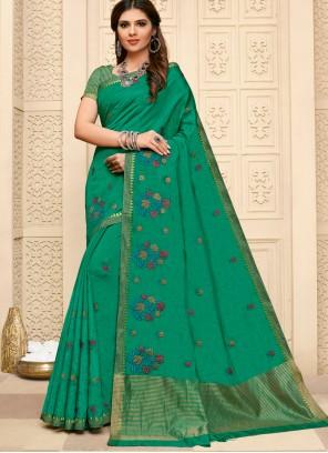 Resham Cotton Silk Green Contemporary Saree