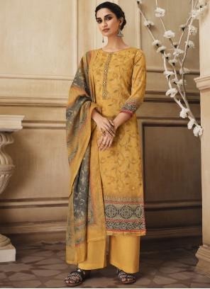 Yellow Resham Cotton Trendy Salwar Kameez