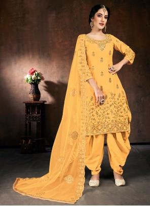 Resham Cotton Yellow Designer Patiala Suit