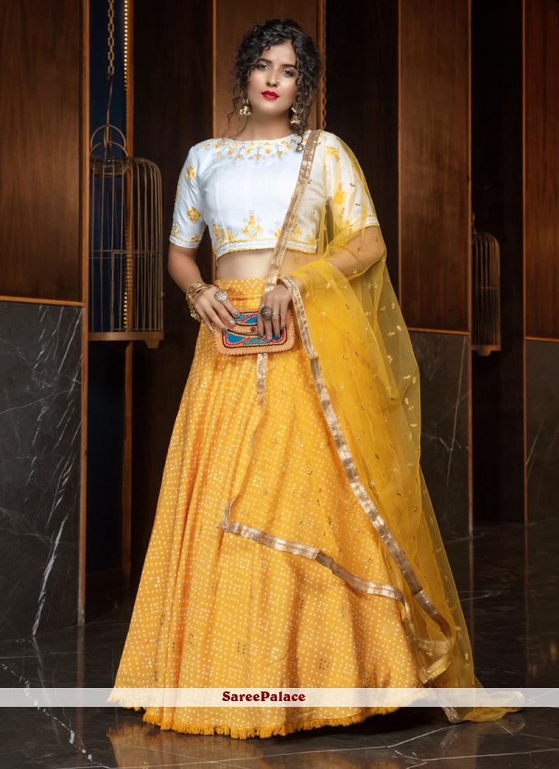 Resham Cotton Yellow Lehenga Choli