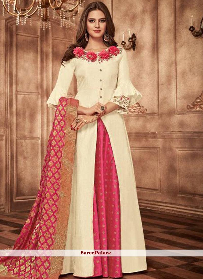 Resham Cream and Hot Pink Readymade Lehenga Choli