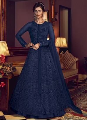 Blue Resham Designer Floor Length Suit