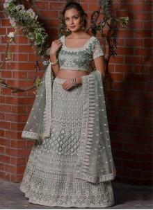 Grey Resham Designer Lehenga Choli