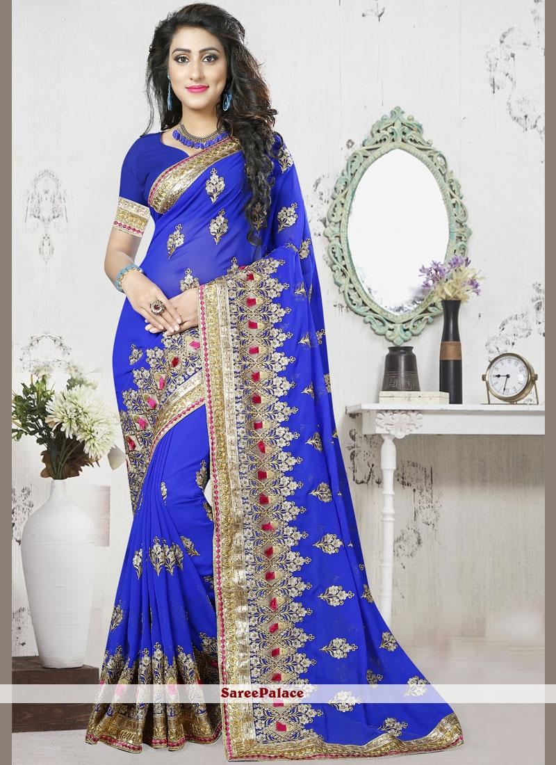 Blue Resham Designer Saree