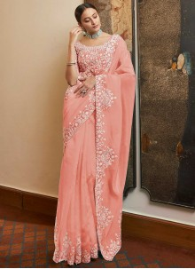 Pink Resham Designer Traditional Saree