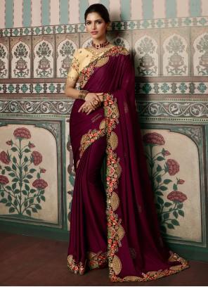 Wine Resham Fancy Fabric Designer Saree