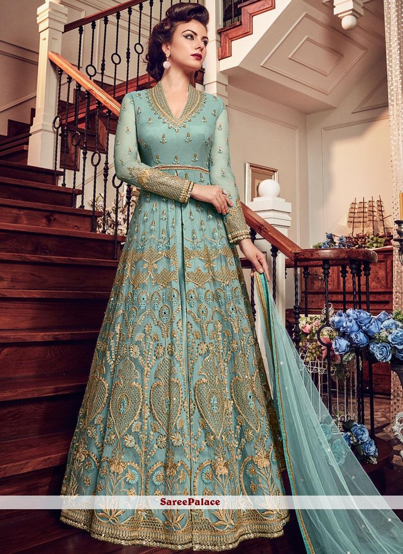 Blue Resham Fancy Fabric Floor Length Anarkali Suit
