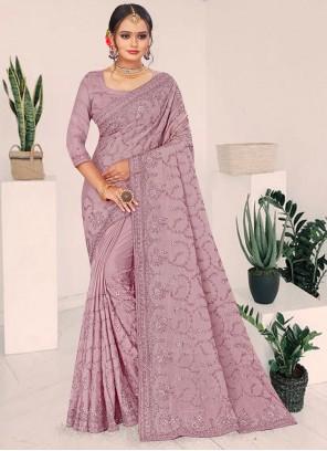 Lavender Resham Faux Chiffon Designer Saree