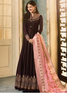 Resham Faux Georgette Brown Floor Length Anarkali Suit