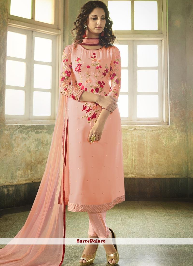 Resham Faux Georgette Churidar Designer Suit