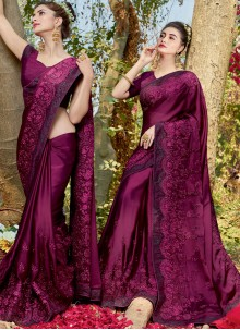 Resham Faux Georgette Classic Designer Saree in Purple
