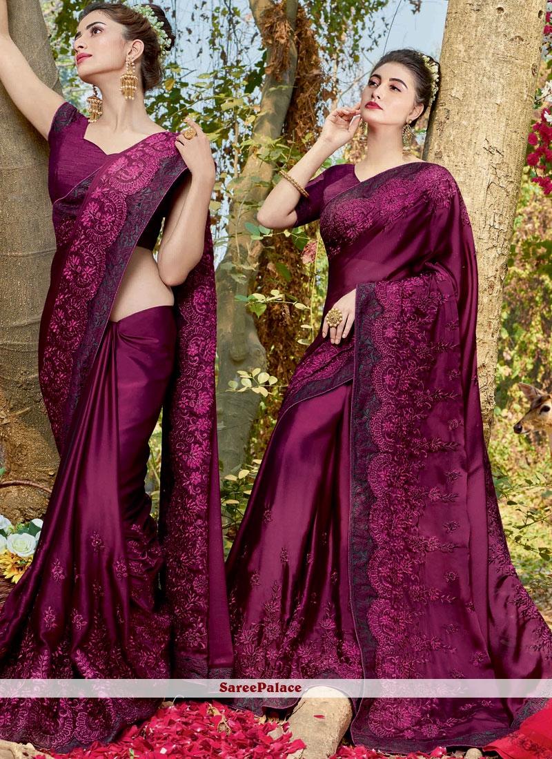 Resham Faux Georgette Classic Designer Saree in Purple