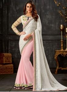 Resham Faux Georgette Designer Half N Half Saree in Pink and White