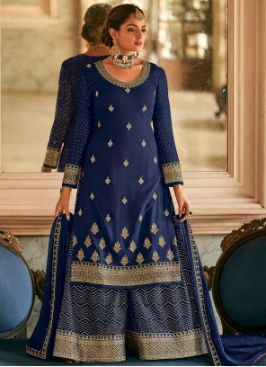 Resham Faux Georgette Designer Pakistani Salwar Suit in Blue
