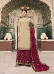 Resham Faux Georgette Designer Pakistani Suit in Beige
