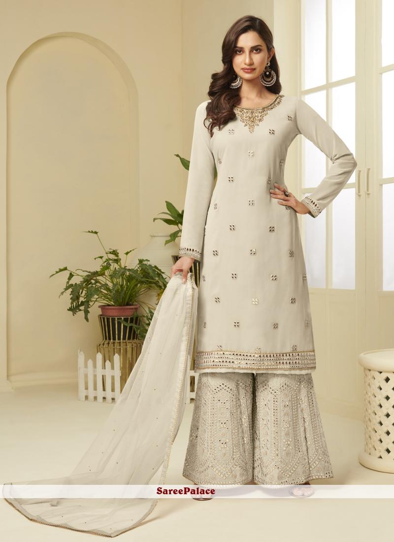 Resham Faux Georgette Cream Designer Palazzo Salwar Kameez