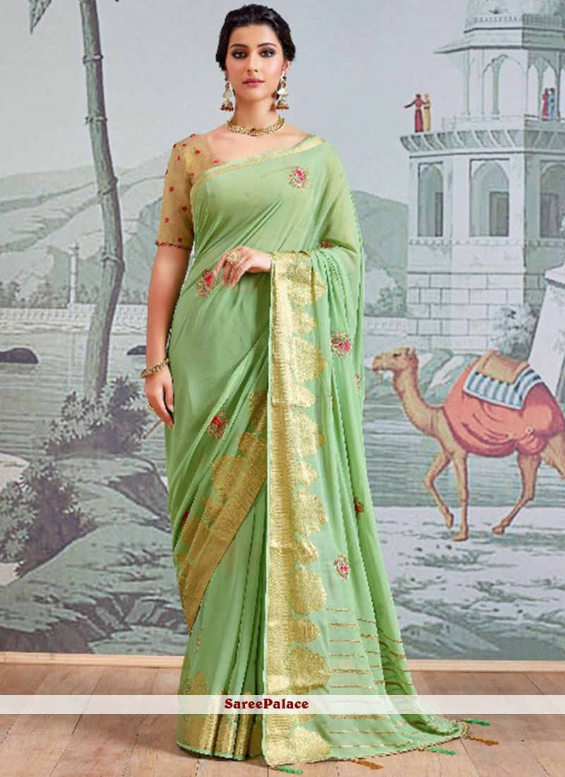 Resham Faux Georgette Designer Saree in Green