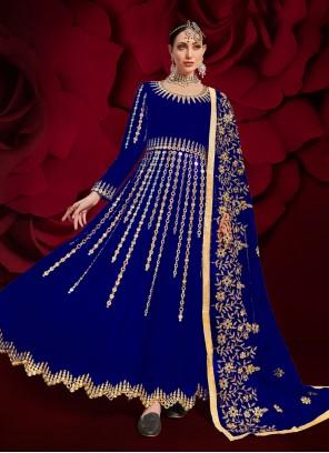 Resham Faux Georgette Floor Length Anarkali Suit in Blue