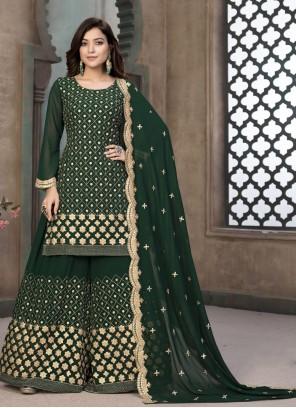 Resham Faux Georgette Green Designer Pakistani Suit