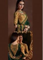 Resham Faux Georgette Green Designer Saree