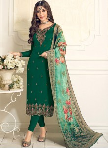 Resham Faux Georgette Green Designer Straight Suit