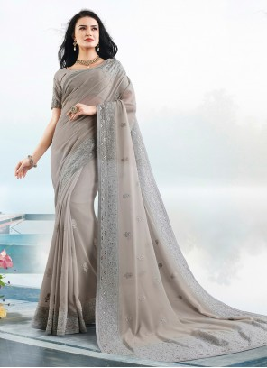 Resham Faux Georgette Grey Trendy Saree