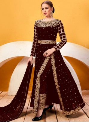 Resham Faux Georgette Pant Style Suit in Brown