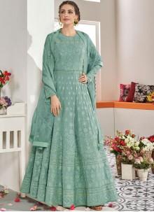 Resham Faux Georgette Trendy Anarkali Salwar Kameez