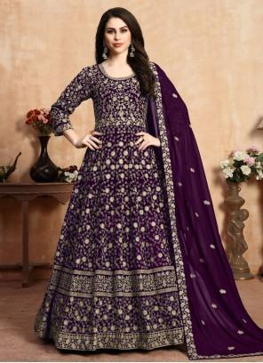Resham Georgette Anarkali Salwar Suit in Purple
