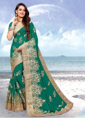 Resham Georgette Classic Designer Saree in Green