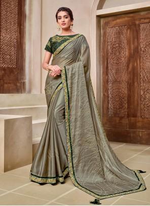 Resham Green Georgette Designer Traditional Saree