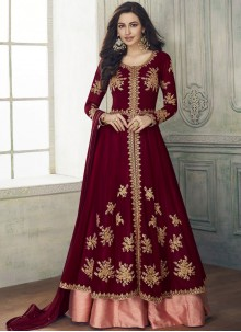 Resham Georgette Maroon Anarkali Salwar Kameez
