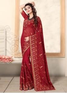 Resham Georgette Red Traditional Saree
