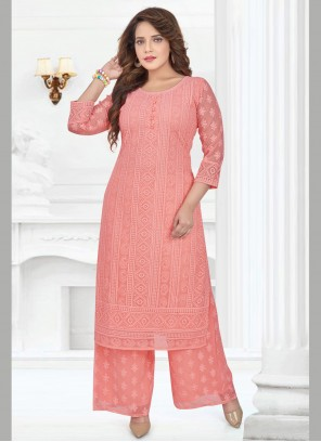 Resham Georgette Salwar Suit in Peach