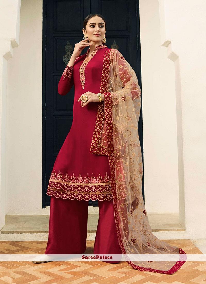 998c37be34 Buy Resham Georgette Satin Designer Pakistani Suit in Red Online
