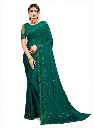 Resham Georgette Satin Green Designer Saree