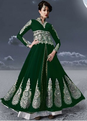 Resham Green Faux Georgette Floor Length Anarkali Suit