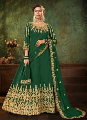 Resham Green Floor Length Anarkali Suit