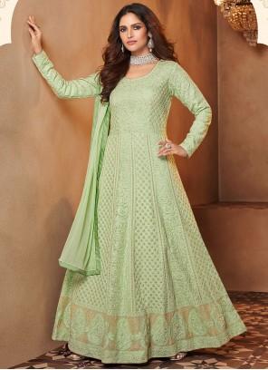 Resham Green Floor Length Designer Suit