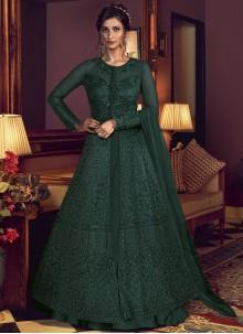 Resham Green Net Floor Length Anarkali Suit
