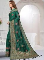 Resham Green Satin Silk Designer Saree
