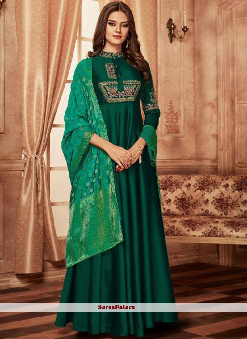 Resham Green Tafeta Silk Readymade Anarkali Suit