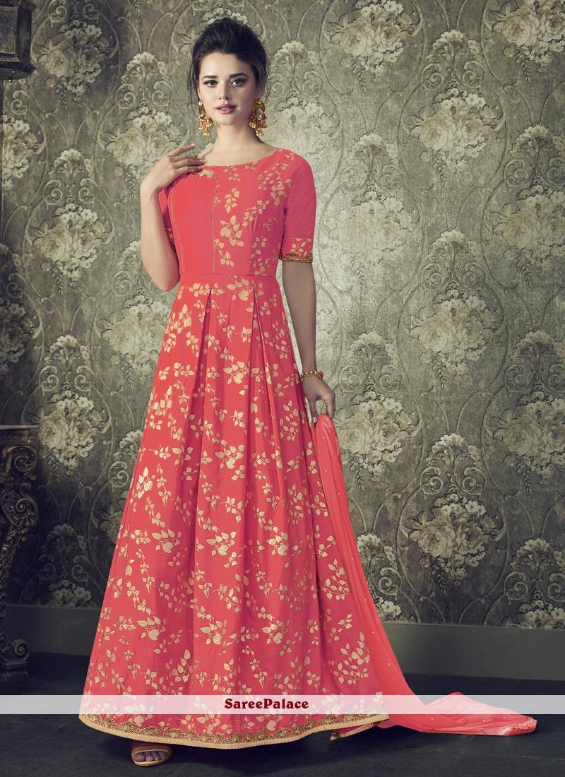 Resham Hot Pink Floor Length Anarkali Suit