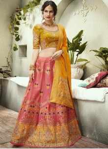 Resham Jacquard Silk Pink and Yellow Lehenga Choli