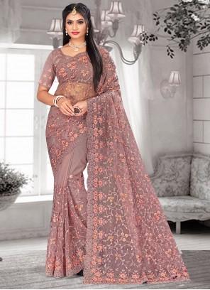 Resham Lavender Net Designer Saree