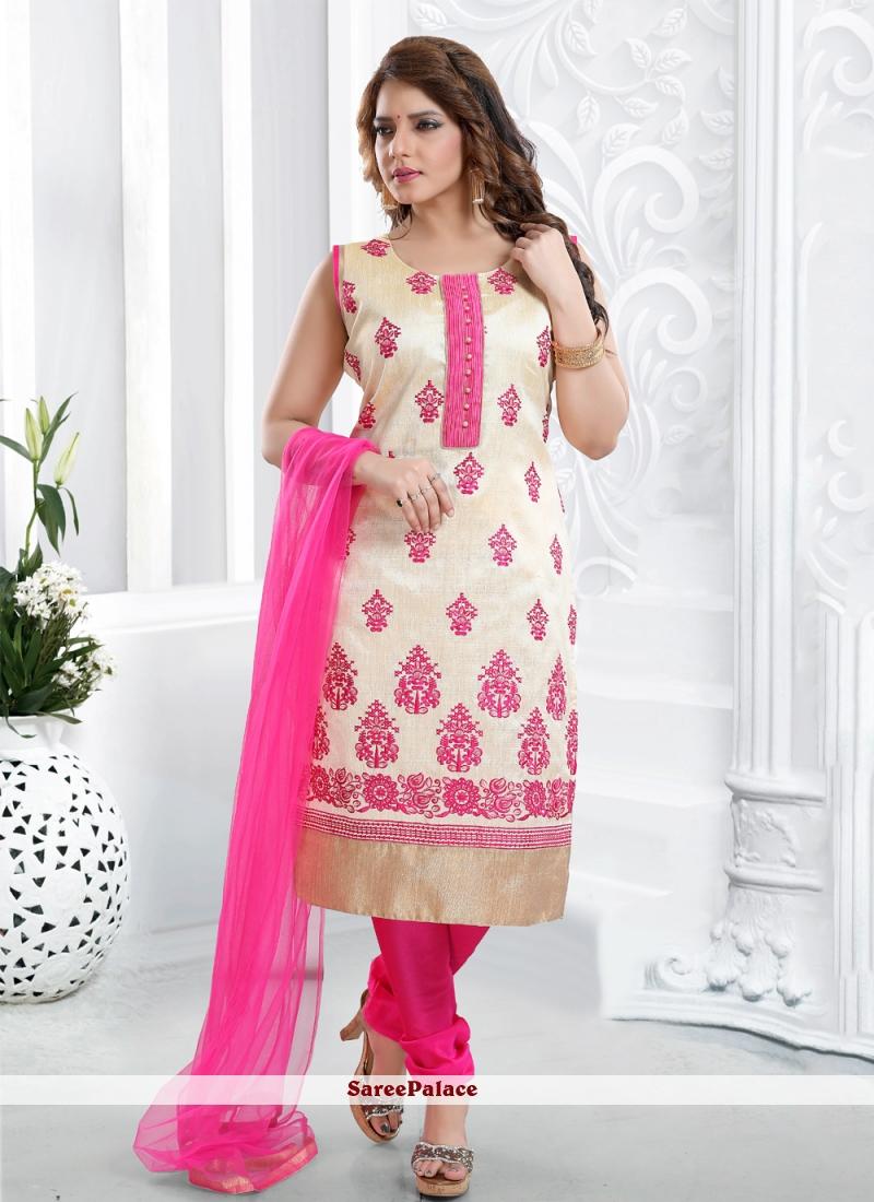 Resham Malbari Silk Hot Pink Salwar Kameez