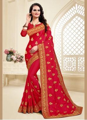 Resham Maroon Designer Saree